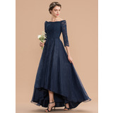 A-Line Off-the-Shoulder Asymmetrical Organza Lace Bridesmaid Dress With Ruffle (007165842)