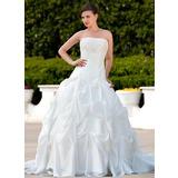 De baile Sem Alças Cauda longa Tafetá Vestido de noiva com Pregueado Renda Bordado (002000496)