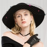 Ladies' Special/Exquisite Wool With Tulle Floppy Hat (196178767)