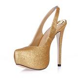 Vrouwen Sprankelende Glitter Stiletto Heel Closed Toe Plateau Pumps Slingbacks (047015216)