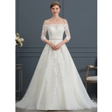 Ball-Gown/Princess Off-the-Shoulder Court Train Tulle Wedding Dress With Beading (002171932)