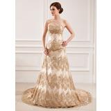 Vestidos princesa/ Formato A Coração Cauda longa Renda Vestido de noiva com Bordado Lantejoulas (002011432)
