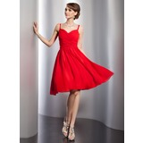 A-Line/Princess Sweetheart Knee-Length Chiffon Homecoming Dress With Ruffle (022014786)