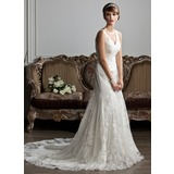 Trumpet/Mermaid V-neck Chapel Train Tulle Wedding Dress With Ruffle Lace (002012719)