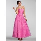 Vestidos princesa/ Formato A Coração Longuete Organza de Vestido quinceanera com Bordados Bordado Lantejoulas (021005230)