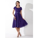 A-Line/Princess Square Neckline Knee-Length Chiffon Homecoming Dress With Ruffle Beading (022010473)