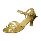 Mulheres Couro Espumante Glitter Saltos Sandálias Latino com Fivela Sapatos de dança (053013276)