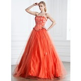 Ball-Gown Strapless Floor-Length Tulle Quinceanera Dress With Ruffle Beading Appliques Lace (021005242)