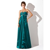 Empire Sweetheart Floor-Length Charmeuse Holiday Dress With Ruffle Beading (020025984)