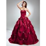 De baile Coração Cauda longa Cetim Vestido quinceanera com Bordado (021015583)