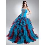 De baile Coração Sweep/Brush trem Organza de Vestido quinceanera com Bordado Babados em cascata (021015689)
