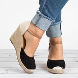 Women's Velvet Wedge Heel Sandals Wedges With Split Joint shoes (116200553)