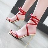 Women's Fabric Stiletto Heel Sandals Pumps Peep Toe With Bowknot shoes (087203186)