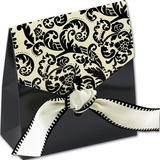 12pcs/set Damask Favor Bags with Ivory & Black Ribbon Wedding Decoration (050178818)