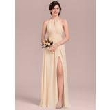 Corte A Decote redondo Longos Tecido de seda Vestido de madrinha com Pregueado Curvado Frente aberta (007126442)