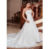 Платье для Балла Без лямок Собор поезд Атлас Органза Свадебные Платье с Рябь Бисер Бант(ы) (002001262)