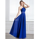Vestidos princesa/ Formato A Um ombro Longos De chiffon Vestido de festa com Pregueado Bordado (017004344)