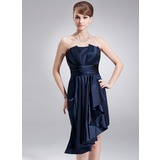 Sheath/Column Scalloped Neck Asymmetrical Charmeuse Holiday Dress With Cascading Ruffles (020036589)