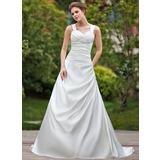 Vestidos princesa/ Formato A Coração Cauda longa Cetim Vestido de noiva com Pregueado Bordado (002000612)