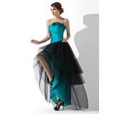 Vestidos princesa/ Formato A Sem Alças Assimétrico Tafetá Tule Vestido de baile com Pregueado fecho de correr (018020955)