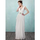 Платье-чехол V-образный Длина до пола шифон Вечерние Платье с Рябь Бисер (017018949)