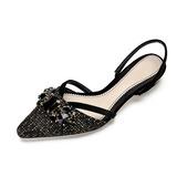 Женщины ткань Низкий каблук Закрытый мыс Босоножки с горный хрусталь обувь (087185188)