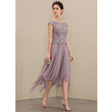 A-Line Scoop Neck Ankle-Length Chiffon Lace Cocktail Dress With Cascading Ruffles (016208833)