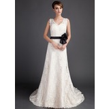 Трапеция/Принцесса V-образный Церемониальный шлейф кружева Свадебные Платье с Лента Бисер Цветы (002015783)