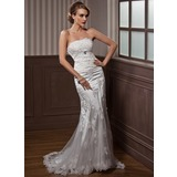 Trompet/Zeemeermin Strapless Hof sleep Charmeuse Tule Bruidsjurk met Roes Applicaties Kant Kristal Bloemen Pin (002012589)