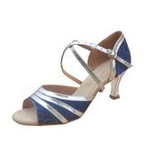 Mulheres Couro Couro Brilhante Saltos Sandálias Latino Sapatos de dança (053012983)