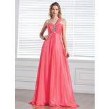 A-Line/Princess One-Shoulder Sweep Train Chiffon Prom Dress With Ruffle Beading (018004848)