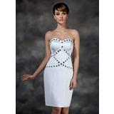 Платье-чехол В виде сердца Длина до колен Атлас Коктейльные Платье с Бисер (016008505)