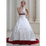 Ball-Gown Halter Court Train Satin Wedding Dress With Embroidered Beading Sequins (002011730)