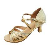 Mulheres Couro Espumante Glitter Saltos Sandálias Latino Sapatos de dança (053013347)