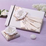 Elegante Falso pérola/Flor Livro de visitas & conjunto de canetas (101037361)