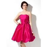 С завышенной талией В виде сердца Длина до колен Тафта Платье Подружки Невесты с Рябь Цветы (022020748)