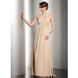 Império Decote redondo Longos De chiffon Vestido para a mãe da noiva com Pregueado Bordado (008014534)