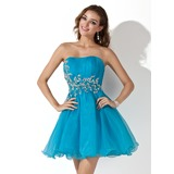Vestidos princesa/ Formato A Coração Curto/Mini Organza de Vestido de boas vindas com Pregueado Lantejoulas (022020905)