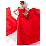 Трапеция/Принцесса V-образный Шлейф ватто шифон Вечерние Платье с Рябь Бисер (017013781)