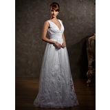 Трапеция/Принцесса V-образный Длина до пола Тюль Свадебные Платье с кружева (002012597)