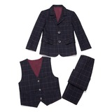 Boys 3 Pieces Plaid Ring Bearer Suits /Page Boy Suits With Jacket Vest Pants (287199767)