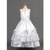 De baile Longos Vestidos de Menina das Flores - Charmeuse Sem magas Decote redondo com fecho de correr/Curvado (010015798)