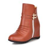 Женщины кожа PU Вид каблука Танкетка Ботинки обувь (088187315)