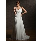 Трапеция/Принцесса V-образный Церемониальный шлейф шифон Свадебные Платье с Рябь (002004750)
