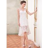 Платье-чехол V-образный Асимметричный Органза Свадебные Платье с Бисер аппликации кружева блестками (002047384)