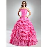 Платье для Балла Без лямок Длина до пола Тафта Пышное платье с Рябь Цветы (021015576)