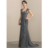 Corte A Amada Sweep/Brush trem Tecido de seda Renda Vestido para a mãe da noiva com Beading lantejoulas (008164101)