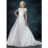 Платье для Балла Круглый Церемониальный шлейф Атлас Свадебные Платье с Рябь Бисер блестками (002011976)