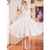 A-Line/Princess Scoop Neck Tea-Length Satin Lace Wedding Dress With Beading Flower(s) Sequins (002047375)