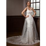Forme Princesse Bustier en coeur Traîne mi-longue Tulle Robe de mariée avec Plissé Dentelle (002011450)